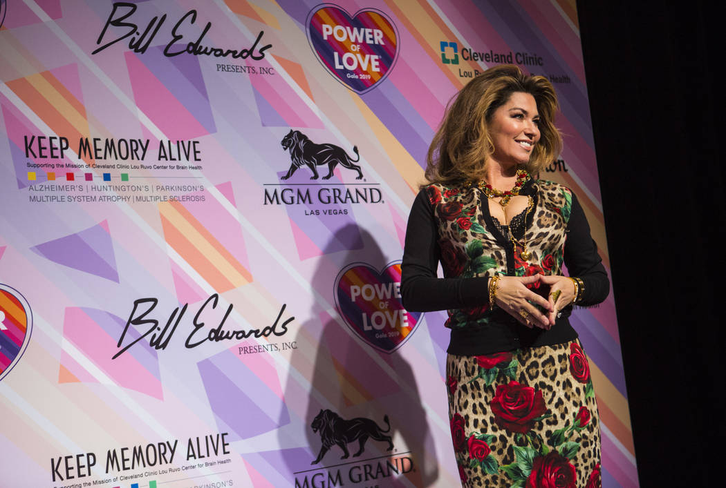 Shania Twain poses on the red carpet for Keep Memory Alive's 23rd annual Power of Love gala, raising money for Cleveland Clinic Lou Ruvo Center for Brain Health's programs and services, at the MGM ...