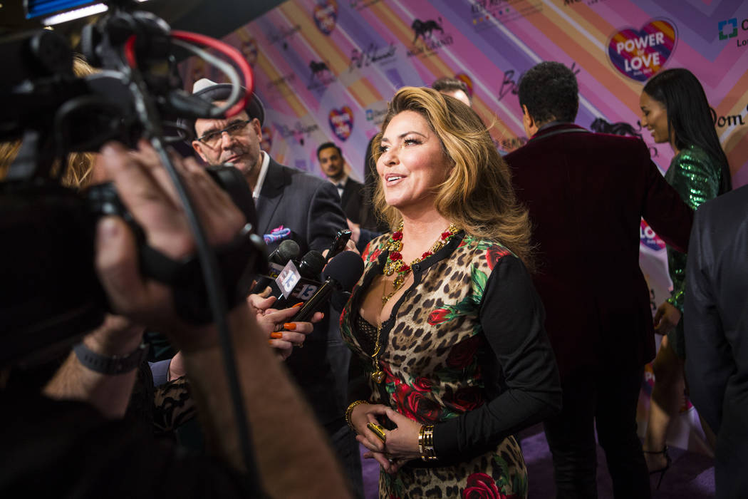 Shania Twain is interviewed on the red carpet for Keep Memory Alive's 23rd annual Power of Love gala, raising money for Cleveland Clinic Lou Ruvo Center for Brain Health's programs and services, a ...