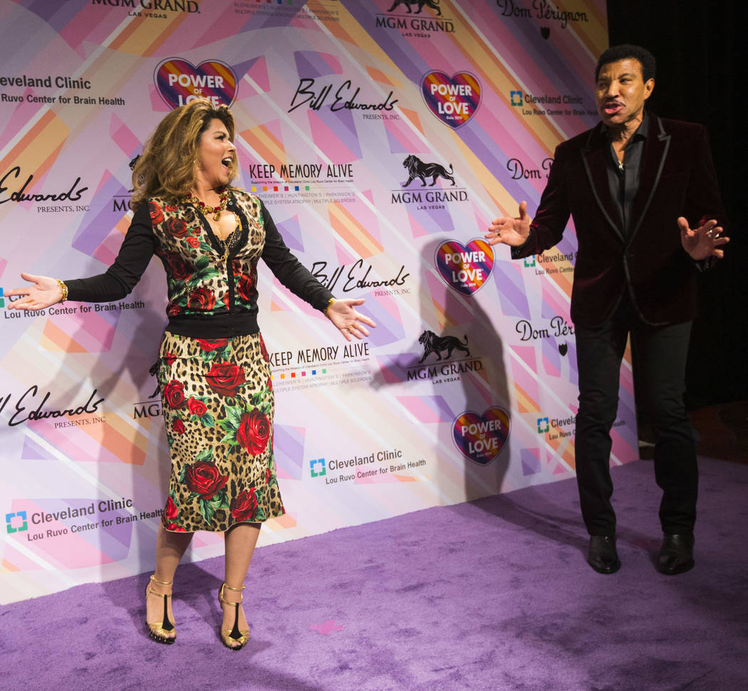 Shania Twain, left, and Lionel Richie pose on the red carpet for Keep Memory Alive's 23rd annual Power of Love gala, raising money for Cleveland Clinic Lou Ruvo Center for Brain Health's programs ...