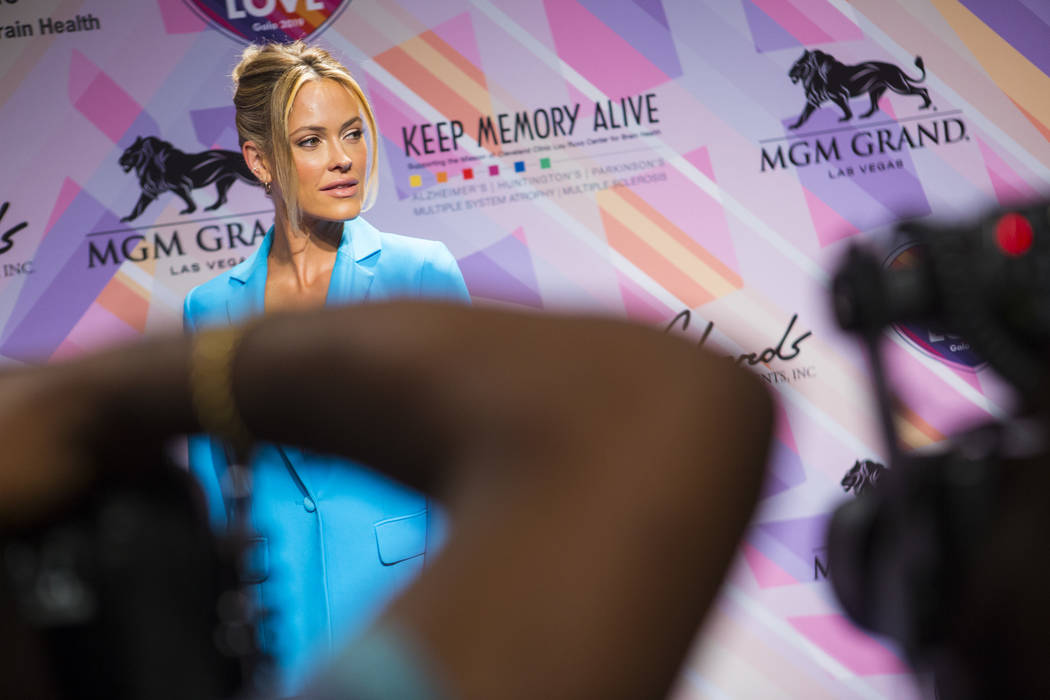 Peta Murgatroyd poses on the red carpet for Keep Memory Alive's 23rd annual Power of Love gala, raising money for Cleveland Clinic Lou Ruvo Center for Brain Health's programs and services, at the ...