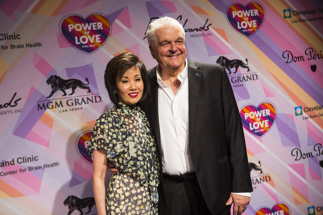 Gov. Steve Sisolak poses with wife Kathy Ong on the red carpet for Keep Memory Alive's 23rd annual Power of Love gala, raising money for Cleveland Clinic Lou Ruvo Center for Brain Health's program ...