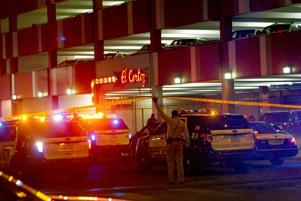 A heavy police presence was visible early Sunday morning outside the El Cortez. There were reports of a shooting at the downtown Las Vegas hotel, Sunday, March 17, 2019. (Rachel Aston/Las Vegas Re ...