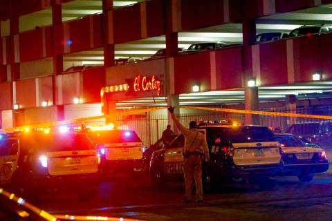 Las Vegas police investigate outside the El Cortez in downtown Las Vegas after a shooting at the hotel and casino, Sunday, March 17, 2019. (Rachel Aston/Las Vegas Review-Journal) @rookie__rae