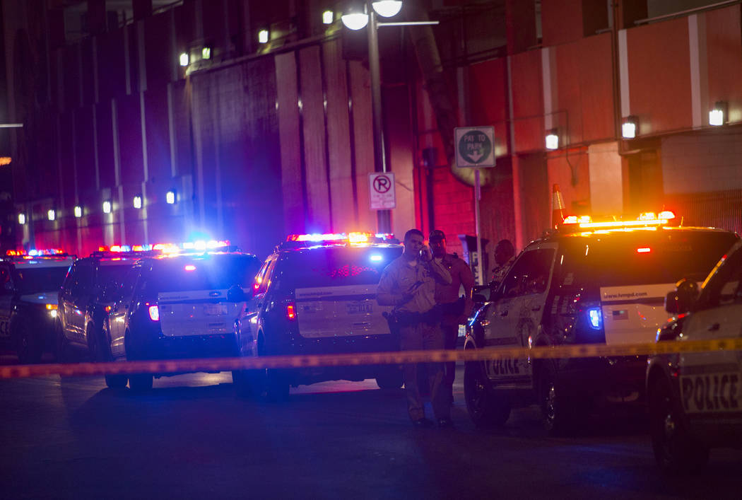 Heavy police presence outside El Cortez where a shooting took place in downtown Las Vegas, Sunday, March 17, 2019. (Rachel Aston/Las Vegas Review-Journal) @rookie__rae