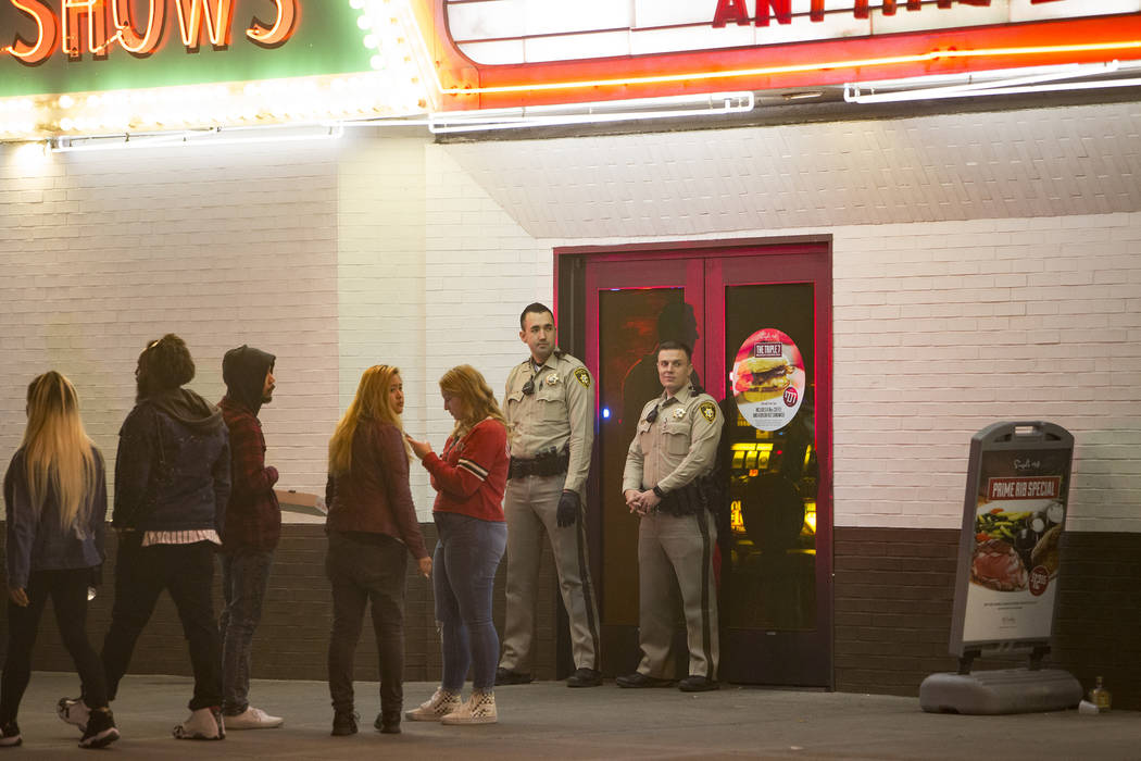 Police guard the doors of El Cortez where a shooting took place in downtown Las Vegas, Sunday, March 17, 2019.(Rachel Aston/Las Vegas Review-Journal) @rookie__rae