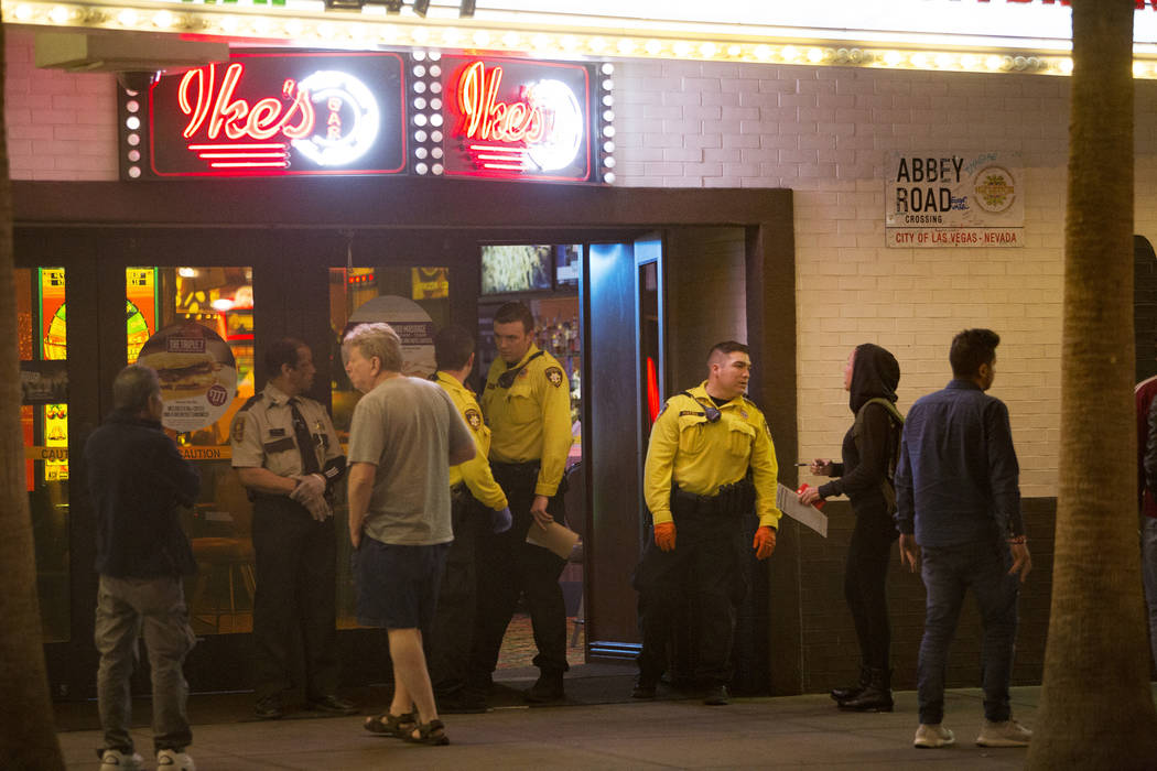 Police turn down people trying to enter as they guard the doors of El Cortez where a shooting took place in downtown Las Vegas, Sunday, March 17, 2019.(Rachel Aston/Las Vegas Review-Journal) @rook ...