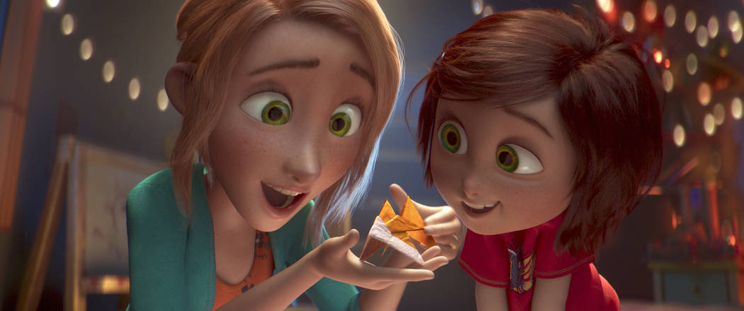 "This image released by Paramount Animation shows June, voiced by Sofia Mali, right, and her mom, voiced by Jennifer Garner, in a scene from the animated film ""Wonder Park."" (Paramount An ..."
