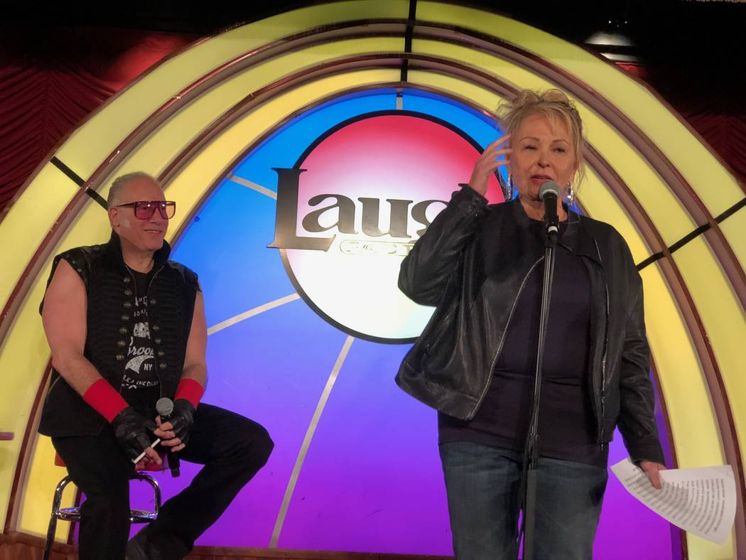 Roseanne Barr and Andrew Dice Clay are shown at Laugh Factory at the Tropicana on Saturday, March 16, 2019. (Harry Basil)