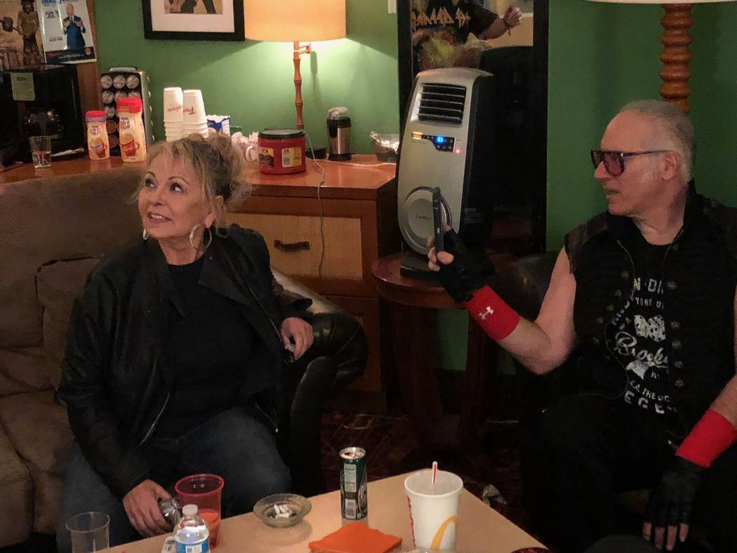 Roseanne Barr and Andrew Dice Clay are shown backstage at Laugh Factory at the Tropicana on Saturday, March 16, 2019. (Harry Basil)