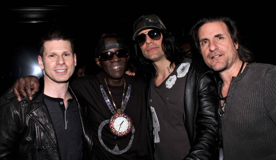 Mike Hammer; Flavor Flav; Criss Angel; and Angel's brother, JD Sarantakos are shown art Flavor Flav's 60th birthday party at 172 music club on Saturday, March 16, 2019. (Ira Kuzma)