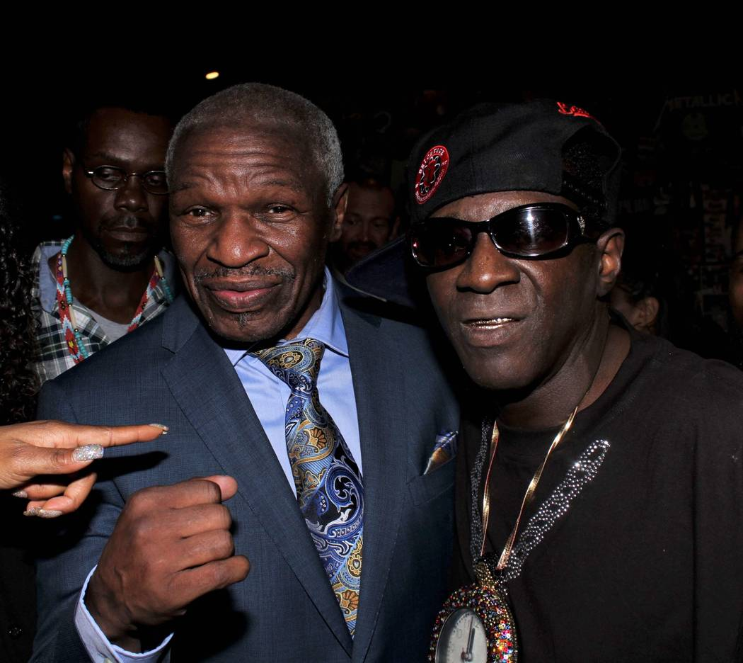 Floyd Mayweather Sr. and Flavor Flav are shown art Flavor Flav's 60th birthday party at 172 music club on Saturday, March 16, 2019. (Ira Kuzma)