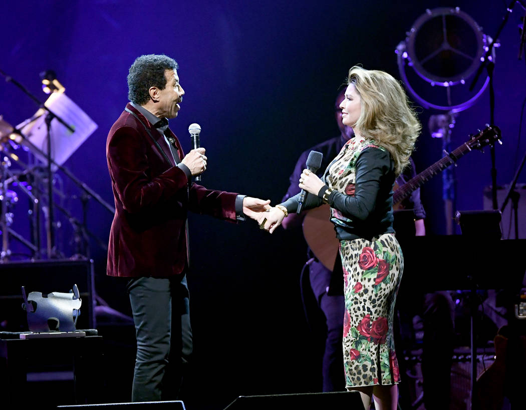 LAS VEGAS, NEVADA - MARCH 16: Lionel Richie (L) and Shania Twain speak during the 23rd annual Keep Memory Alive 'Power of Love Gala' benefit for the Cleveland Clinic Lou Ruvo Center for Brain Heal ...