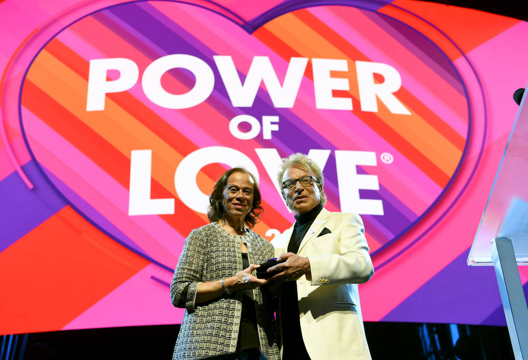 LAS VEGAS, NEVADA - MARCH 16: Lonnie Ali (L) and Siegfried Fischbacher appear onstage during the 23rd annual Keep Memory Alive 'Power of Love Gala' benefit for the Cleveland Clinic Lou Ruvo Cente ...