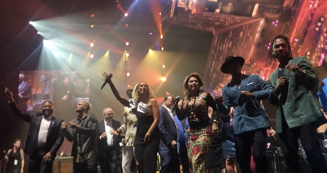 The show-closing lineup onstage during the 23rd annual Keep Memory Alive 'Power of Love Gala' benefit for the Cleveland Clinic Lou Ruvo Center for Brain Health at MGM Grand Garden Arena on March 1 ...