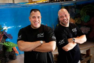 "Wayde King, left, and Brett Raymer, seen in 2013 and owners of Acrylic Tank Manufacturing, star in Animal Planet's ""Tanked."" (Las Vegas Review-Journal)"