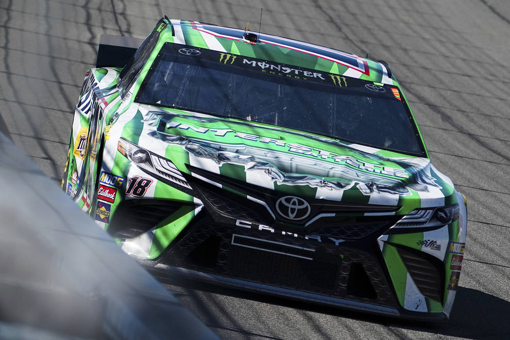 Kyle Busch drives during the early laps of the NASCAR Cup Series auto race at Auto Club Speedway, in Fontana, Calif., Sunday, March 17, 2019. (AP Photo/Rachel Luna)