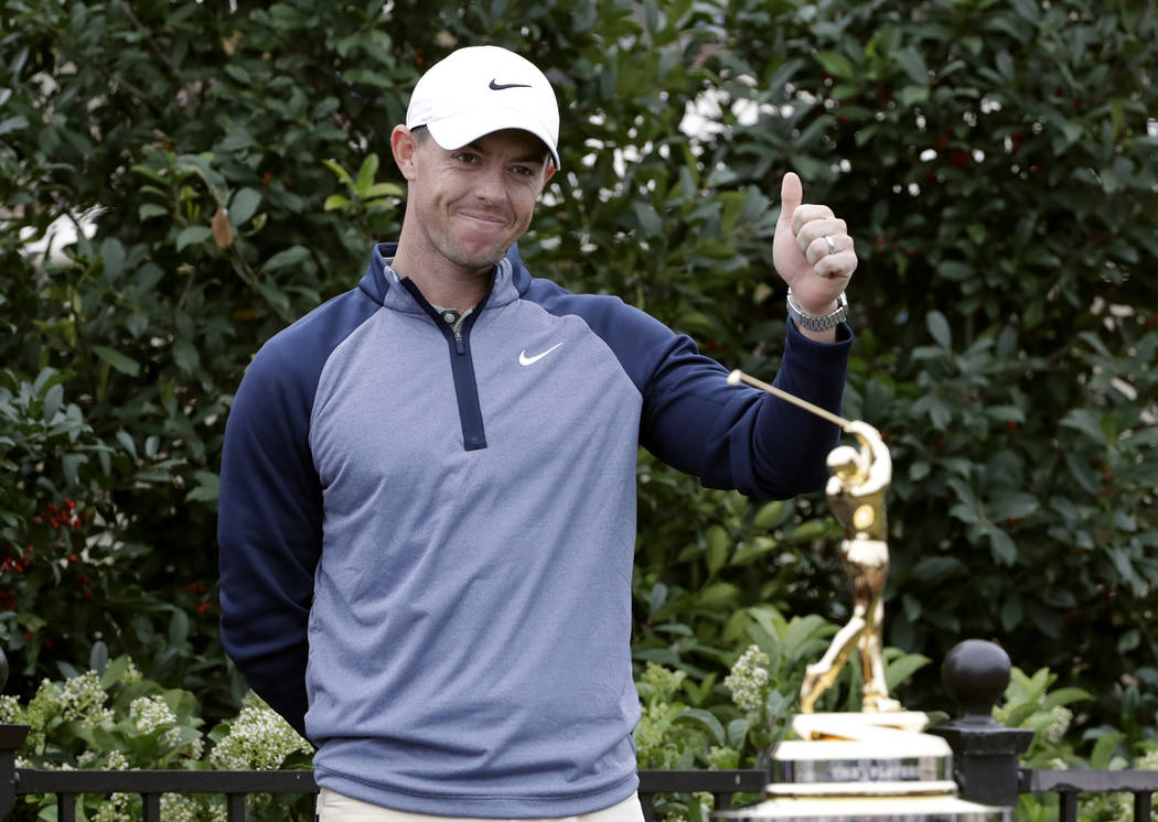 Rory McIlroy, of Northern Ireland, gives a thumbs-up after winning The Players Championship golf tournament Sunday, March 17, 2019, in Ponte Vedra Beach, Fla. (AP Photo/Lynne Sladky)