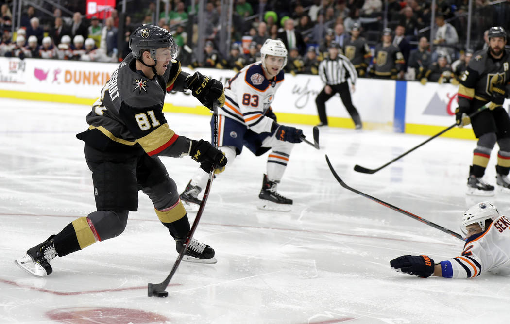Vegas Golden Knights center Jonathan Marchessault (81) scores a goal against the Edmonton Oilers during the second period of an NHL hockey game Sunday, March 17, 2019, in Las Vegas. (AP Photo/Isaa ...