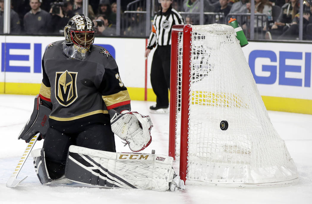 Vegas Golden Knights goalie Malcolm Subban watches as a shot goes wide during the first period of an NHL hockey game against the Edmonton Oilers Sunday, March 17, 2019, in Las Vegas. The Golden Kn ...