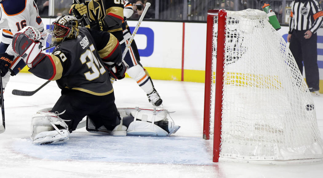 The Edmonton Oilers score on Vegas Golden Knights goalie Malcolm Subban during the third period of an NHL hockey game Sunday, March 17, 2019, in Las Vegas. The Golden Knights won, 6-3. (AP Photo/I ...