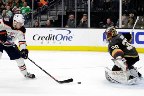 Edmonton Oilers left wing Leon Draisaitl (29) shoots against Vegas Golden Knights goalie Malcolm Subban during the first period of an NHL hockey game Sunday, March 17, 2019, in Las Vegas. (AP Phot ...