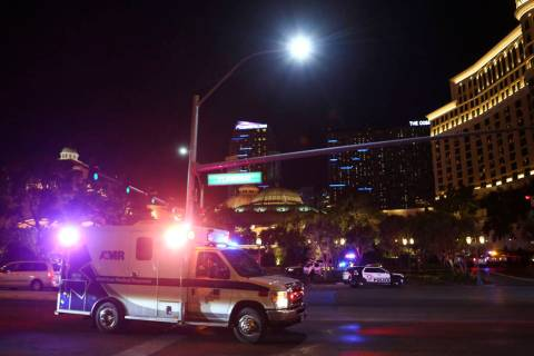 An ambulance heads to the Bellagio after a shooting in Las Vegas on Friday, March 15, 2019. (Chase Stevens/Las Vegas Review-Journal) @csstevensphoto