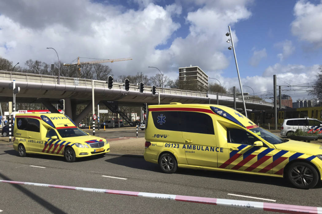 "Emergency services attend the scene of a shooting in Utrecht, Netherlands, Monday March 18, 2019. Police in the central Dutch city of Utrecht say on Twitter that ""multiple"" people have b ..."
