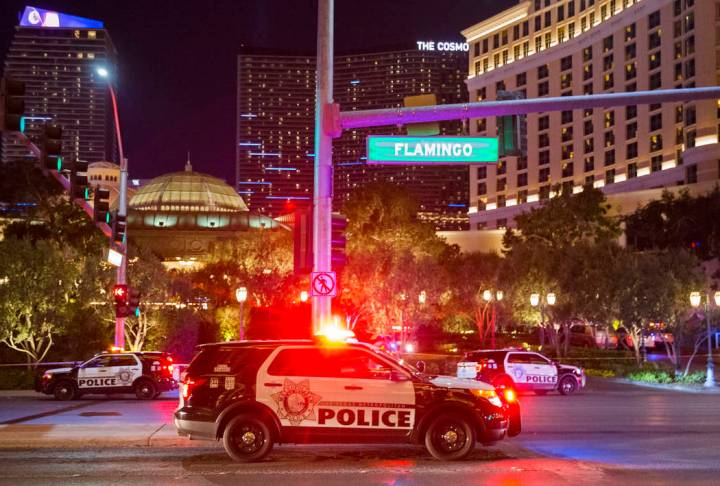 Las Vegas police respond to an officer-involved shooting at the Bellagio on Friday, March 15, 2019, in Las Vegas. (Benjamin Hager Review-Journal) @BenjaminHphoto