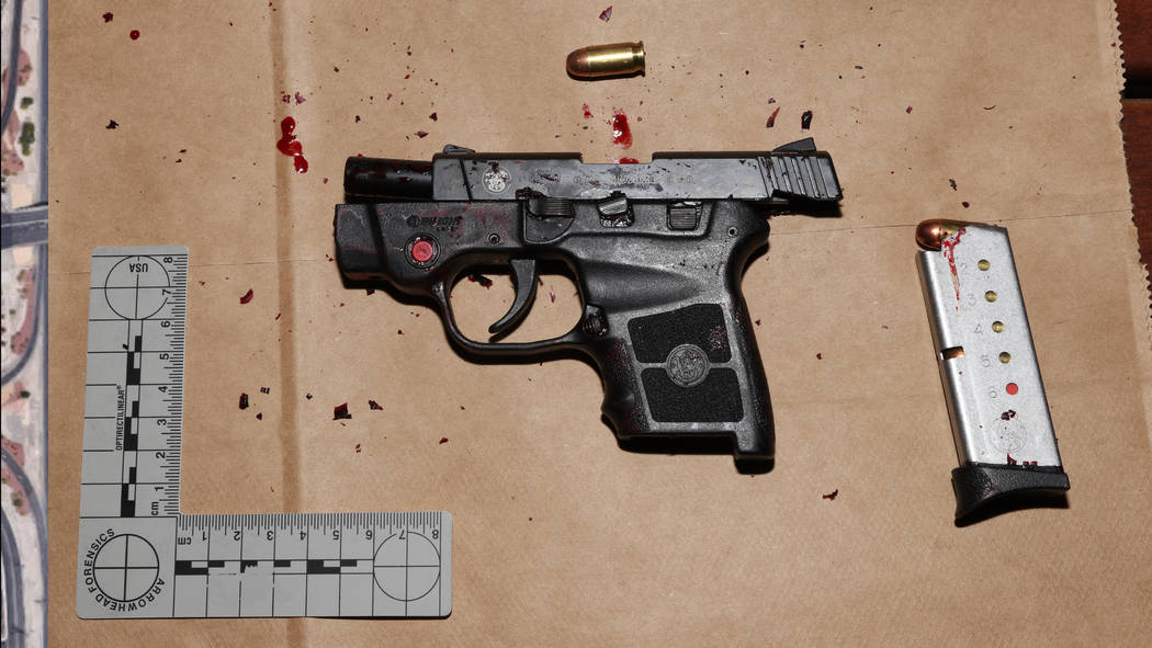 This photo released by the Las Vegas Metropolitan Police Department shows the weapon used by Michael Cohen during an armed robbery at the Bellagio hotel-casino on March 15, 2019. Cohen was shot to ...