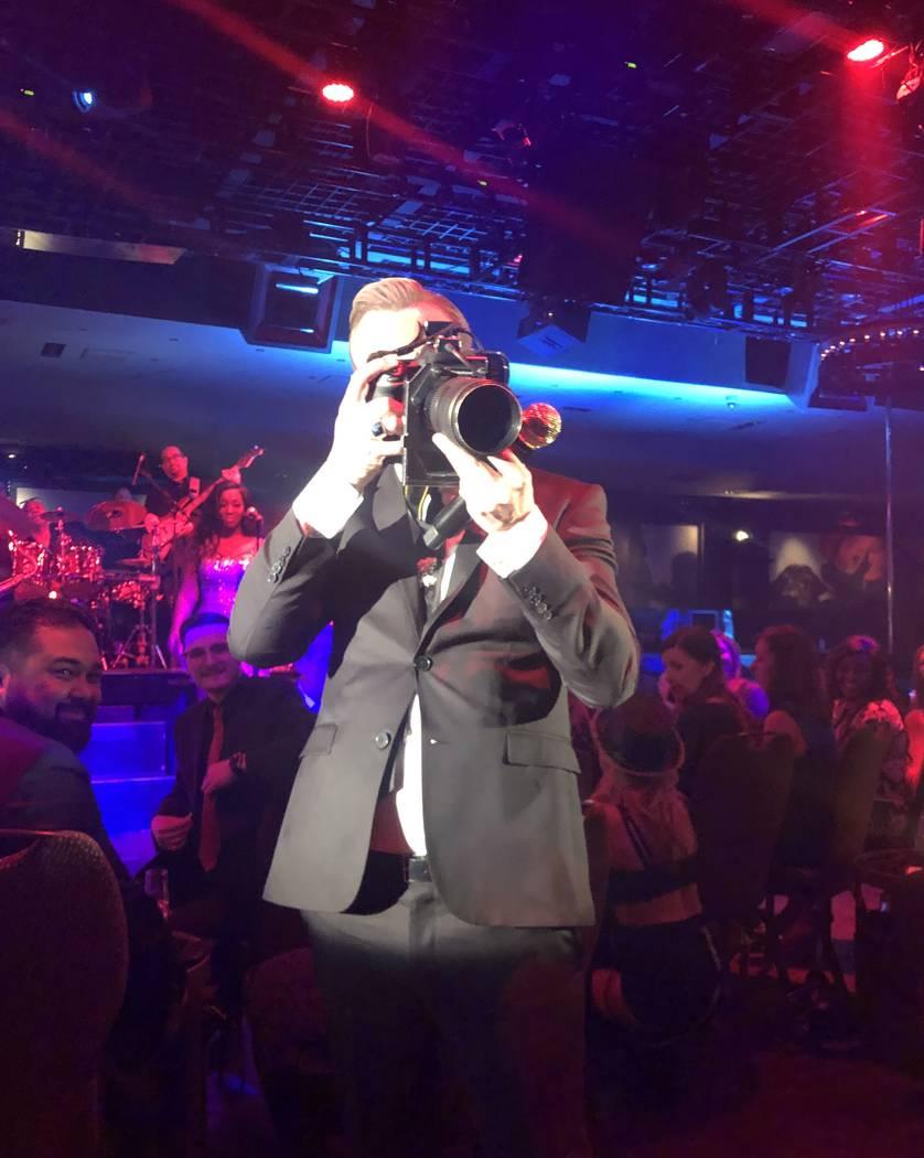 Matt Goss focuses Denise Truscello's camera on the Las Vegas photographer during his show on Sunday, March 17, 2019. (John Katsilometes/Las Vegas Review-Journal) @JohnnyKats