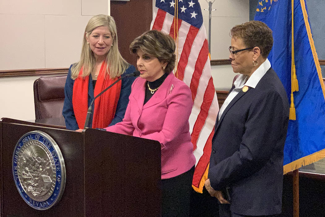Noted women's rights attorney Gloria Allred speaks Monday, March 18, 2019, on a bill that would end time limits for prosecuting sex crimes in Nevada where DNA evidence has been collected. She is j ...