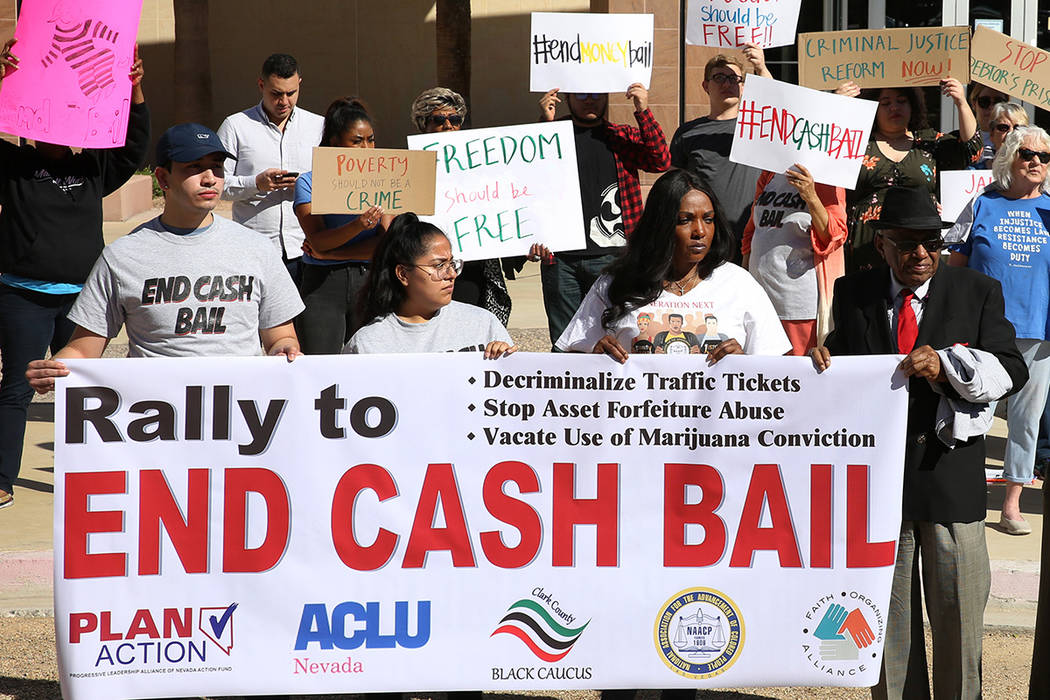 Protesters rally to promote criminal justice reform outside of the Grant Sawyer Building on Monday, March 18, 2019, in Las Vegas. (Bizuayehu Tesfaye Las Vegas Review-Journal @bizutesfaye)