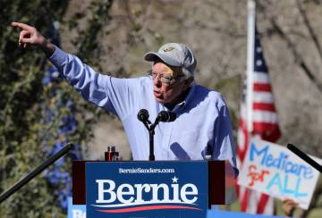 Democratic presidential candidate Sen. Bernie Sanders addresses his supporters at a rally as part of a tour launching his presidential campaign at Morrell Park in Henderson, Saturday, March 16, 20 ...