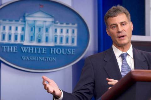 In this Nov. 29, 2011, file photo Alan Krueger, chair of the White House Council of Economic Advisers, gestures during the daily news briefing at the White House in Washington. Princeton Universit ...