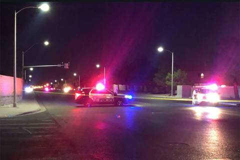 Las Vegas officers were involved in a shooting in the 8000 block of South Eastern Avenue, near Windmill Lane, on Saturday, March 16, 2019. (Katelyn Newberg/Las Vegas Review-Journal)