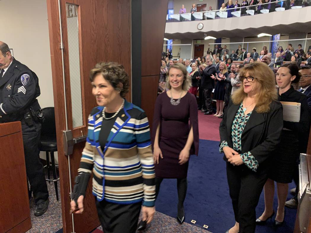 Nevada Sen. Jacky Rosen leaves the State Assembly chambers Monday after delivering an address to a joint session of the state Legislature. March 18, 2019. (Bill Dentzer/Las Vegas Review-Journal)