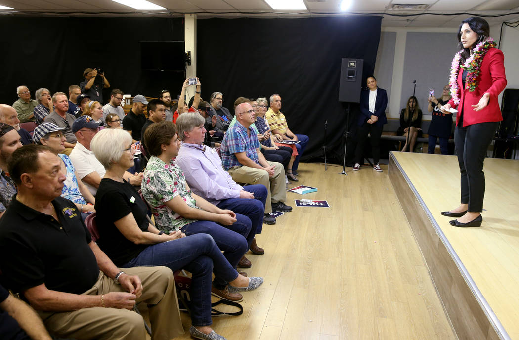 Presidential hopeful U.S. Rep. Tulsi Gabbard, D-Hawaii, during a meet and greet at the Asian Culture Center in downtown Las Vegas Monday, March 18, 2019. (K.M. Cannon/Las Vegas Review-Journal) @KM ...