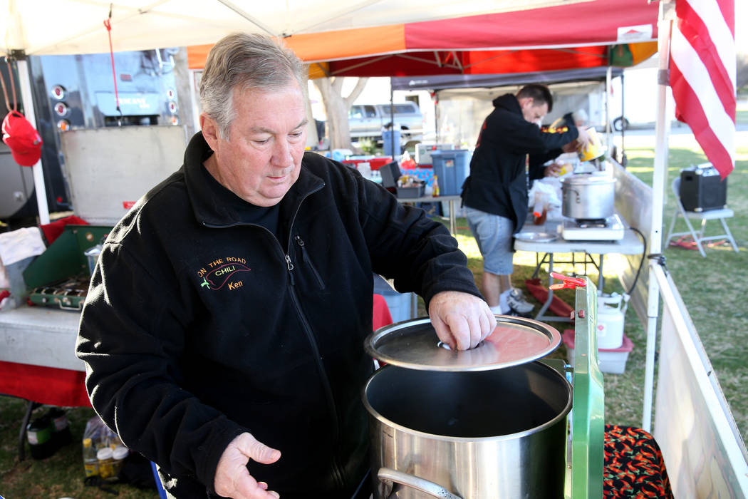 Ken Hook, of Corona, California, prepares his People's Choice chili in his booth at the Nevada State Chili Cook-off at Petrack Park in Pahrump Sunday, March 17, 2019. (K.M. Cannon/Las Vegas Review ...