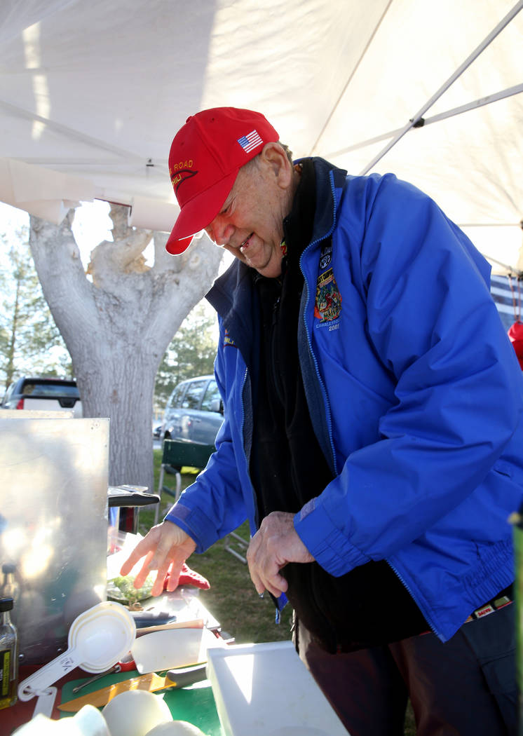 Chuck Harber, of Corona, California, prepares his chili ingredients in his booth at the Nevada State Chili Cook-off at Petrack Park in Pahrump Sunday, March 17, 2019. (K.M. Cannon/Las Vegas Review ...