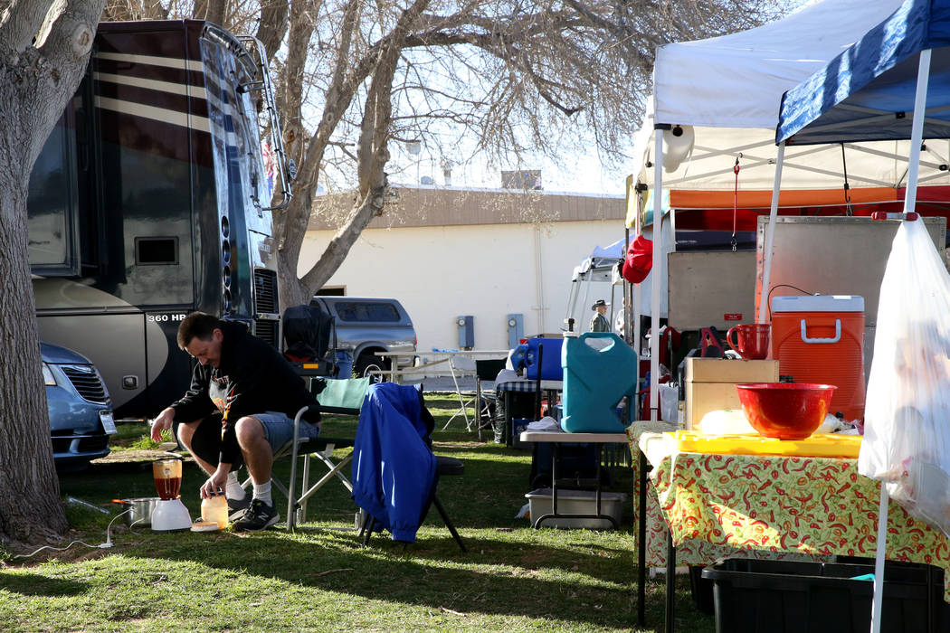 Tony Austin of San Bernardino, California, blends his chili ingredients in his booth at the Nevada State Chili Cook-off at Petrack Park in Pahrump Sunday, March 17, 2019. (K.M. Cannon/Las Vegas Re ...