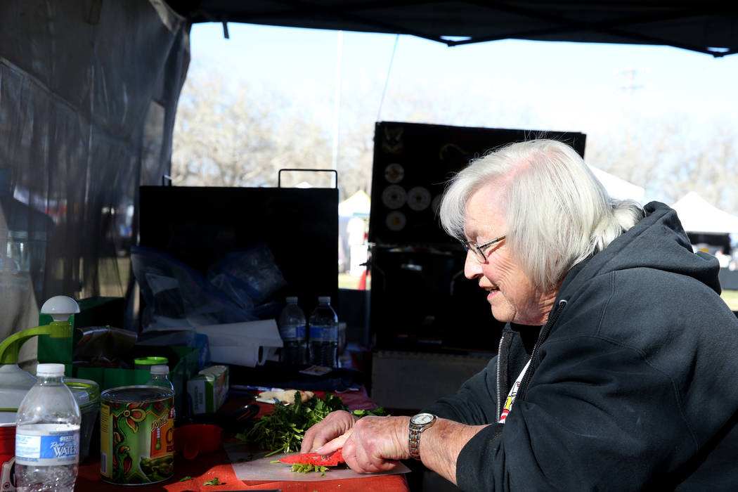 Darlene Taylor of Menifee, California, prepares her chili ingredients in her booth during the Nevada State Chili Cook-off at Petrack Park in Pahrump Sunday, March 17, 2019. (K.M. Cannon/Las Vegas ...
