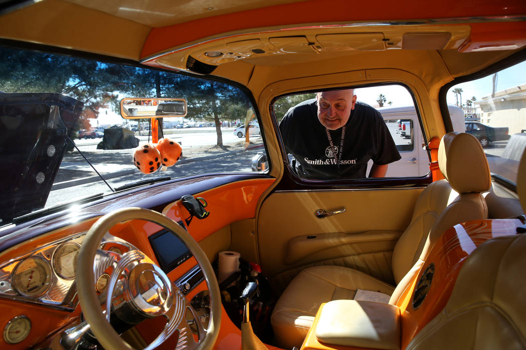 Richard Zwetzig of Pahrump checks out a 1957 Chevy Pickup during at the Nevada State Chili Cook-off at Petrack Park in Pahrump Sunday, March 17, 2019. (K.M. Cannon/Las Vegas Review-Journal) @KMCan ...