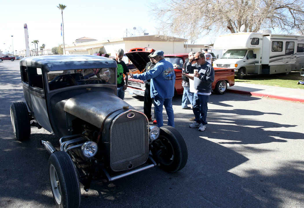 Participants watch a 1929 Ford pull into the car show area during Nevada State Chili Cook-off at Petrack Park in Pahrump Sunday, March 17, 2019. (K.M. Cannon/Las Vegas Review-Journal) @KMCannonPhoto