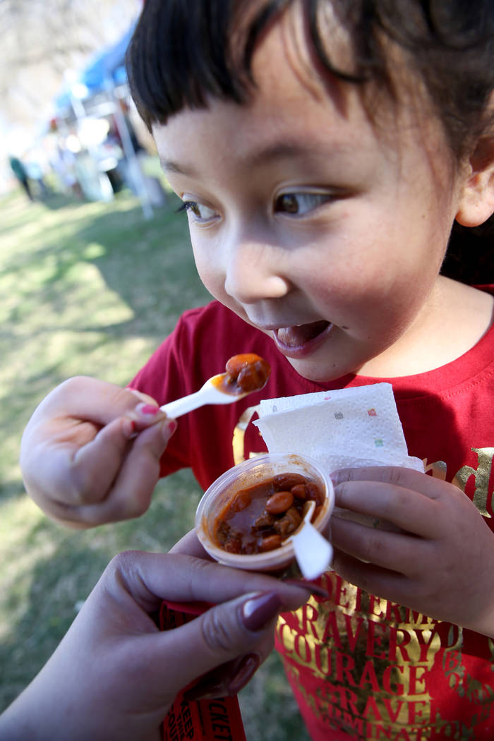 Alaiyah Brooks, 6, of Pahrump samples some People's Choice chili during the Nevada State Chili Cook-off at Petrack Park in Pahrump Sunday, March 17, 2019. (K.M. Cannon/Las Vegas Review-Journal) @K ...