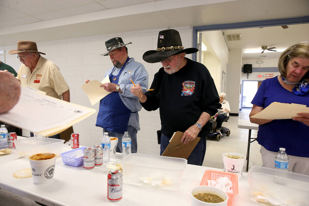 Judges in the Homestyle category competition chili at the Nevada State Chili Cook-off at Petrack Park in Pahrump Sunday, March 17, 2019. (K.M. Cannon/Las Vegas Review-Journal) @KMCannonPhoto