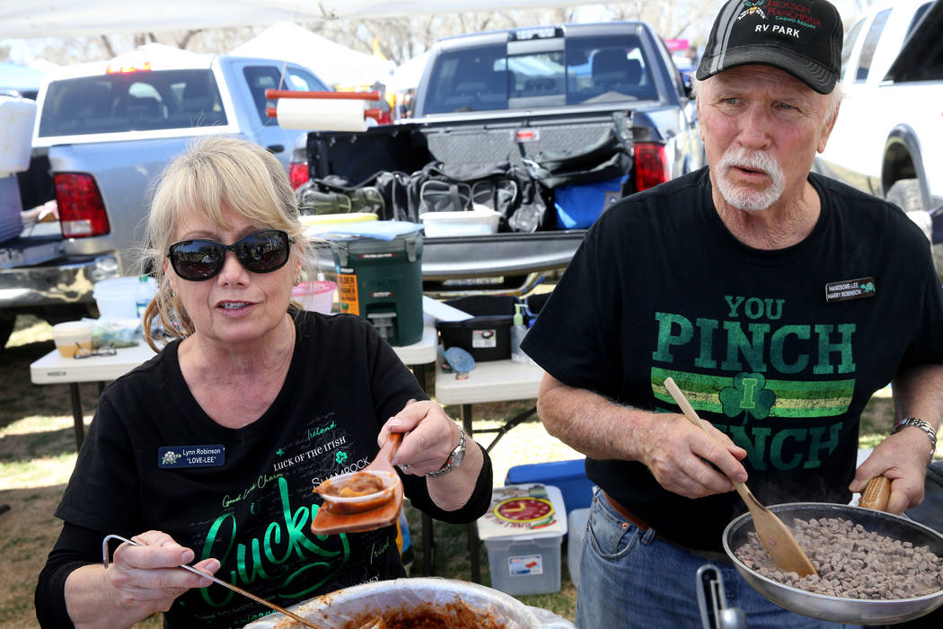Lynn and Harry Robinson of Roseville, California, offer People's Choice chili at the Nevada State Chili Cook-off at Petrack Park in Pahrump Sunday, March 17, 2019. (K.M. Cannon/Las Vegas Review-Jo ...