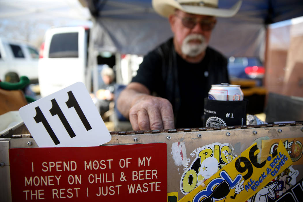 Fred Summers of Beatty prepares his chili during the Nevada State Chili Cook-off at Petrack Park in Pahrump Sunday, March 17, 2019. (K.M. Cannon/Las Vegas Review-Journal) @KMCannonPhoto