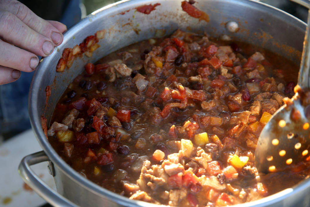 Steve Barnes of Laughlin prepares his People's Choice chili in his booth at the Nevada State Chili Cook-off at Petrack Park in Pahrump Sunday, March 17, 2019. (K.M. Cannon/Las Vegas Review-Journal ...