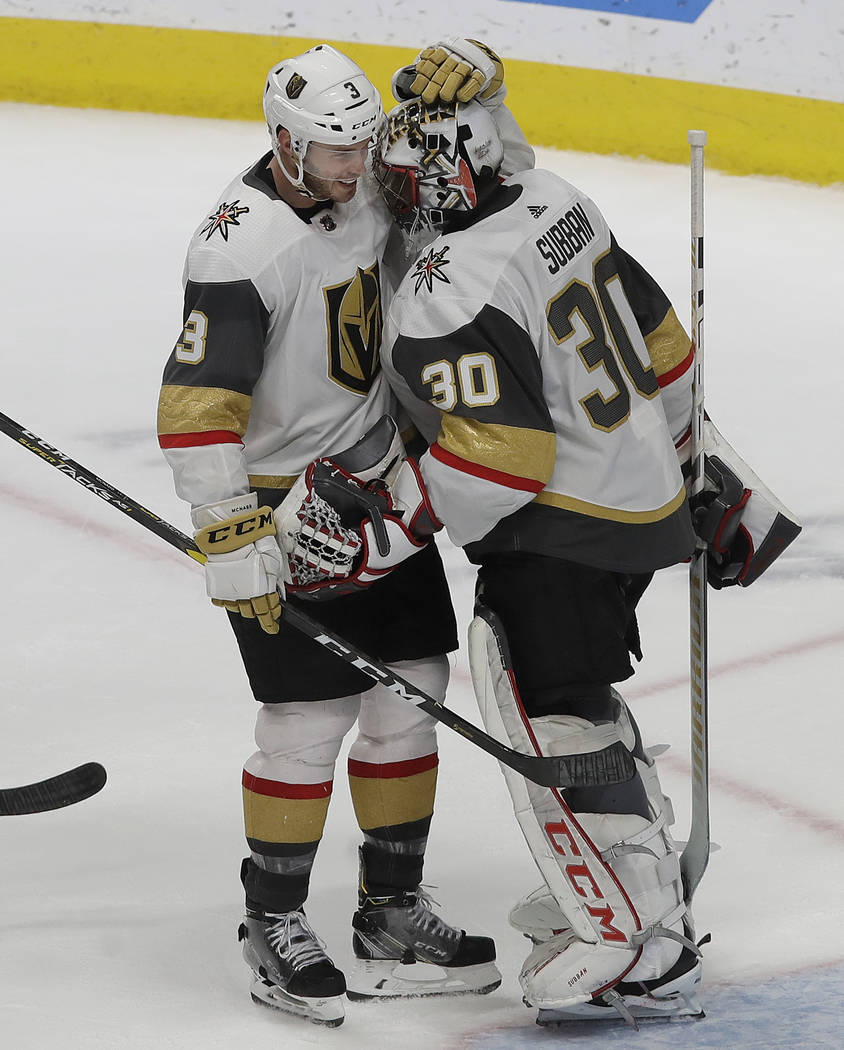 Vegas Golden Knights defenseman Brayden McNabb, left, celebrates with goaltender Malcolm Subban (30) after the Golden Knights defeated the San Jose Sharks in an NHL hockey game in San Jose, Calif. ...