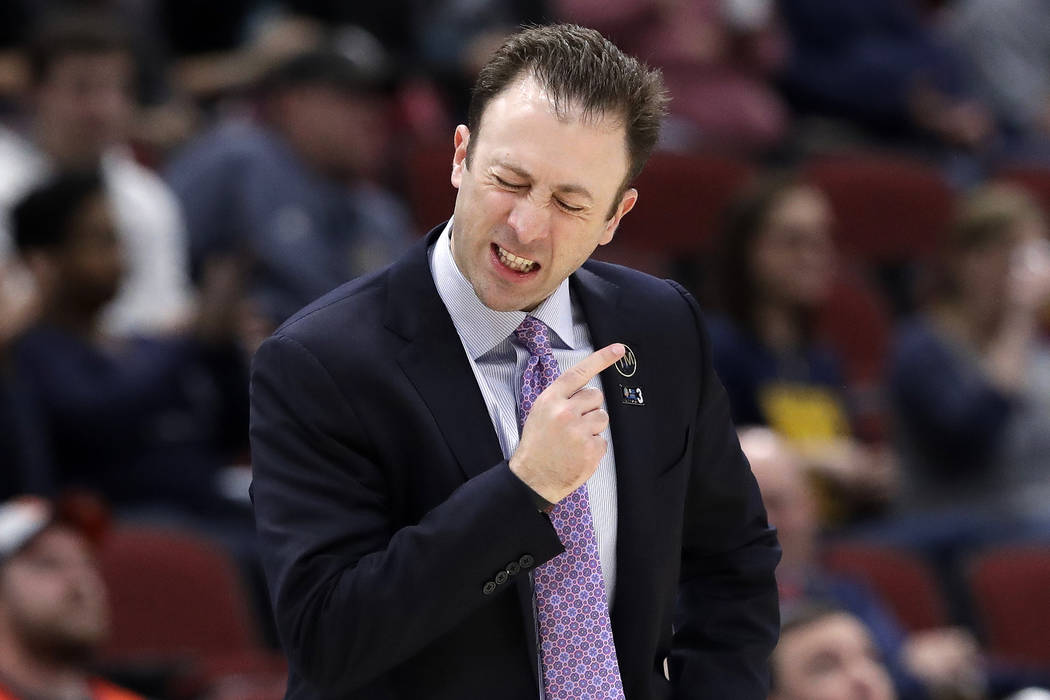 Minnesota head coach Richard Pitino reacts during the second half of an NCAA college basketball game against the Penn State in the second round of the Big Ten Conference tournament, Thursday, Marc ...